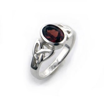 Red Garnet Ring - Sterling Silver Celtic Knot and Genuine Red Garnet Ring Size 7(Sizes 4,5,6,7,8,9,10,11,12)