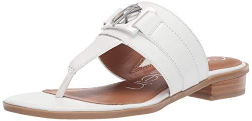 Calvin Klein Women's Farley Flat Sandal, White Soft Nappa Leather, 8 M M US