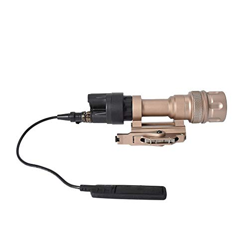 FARMSOLDIER 400 Lumen Rifle Light with Remote Pressure Switch,Tactical Rail Mounted Flashlight Constant and Strobe Modes Cord Control Option,Picatinny Rail Mount Single Mode Hunting Light Tan ()