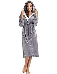 Aibrou Womens Robe Plush Soft Warm Coral Fleece Bathrobe Hooded Robes
