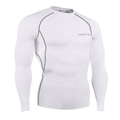 Skin Long Sleeve Compression Shirt (Baleaf Men's Cool Dry Skin Fit Long Sleeve Compression Shirt White Size L)