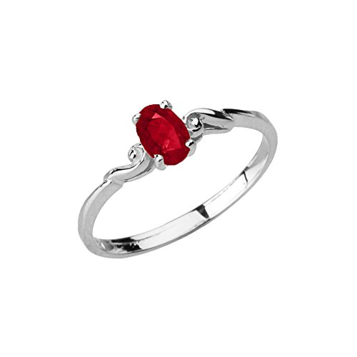 Dainty 10k White Gold Genuine Ruby Swirled Engagement/Promise Solitaire Ring (Size 11)