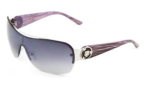Kleo Lion Head Medallion One Piece Shield Sunglasses (Purple Wood Grain & Silver, - Kleo Sunglasses