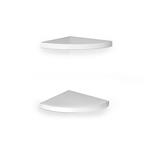 DanyaB White Veneer Corner Shelves, Set of Two Radial Shelf,