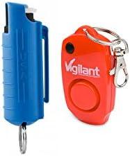 Vigilant Brand Police Strength Pepper Spray with UV Dye and Vigilant 130dB Personal Alarm MVP Protection Package MVP Bundle Kit