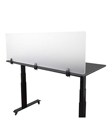 Desk Mounted Privacy Panel - Frosted Desk Divider and Office Partition for Desks Up to 1 Thick (60 Wide, Frosted)