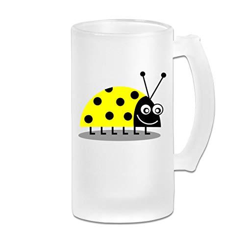 Yellow Cartoon Ladybug 16 Oz Frosted Glass Stein Wine Beer Mug Novelty Gift -