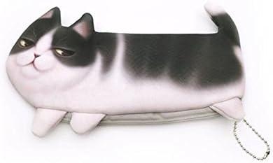 WRITIME 3D Gato gracioso estuche de poliéster bolsas lápices Kawaii Boy&Girl capacidad suministros escolares papelería bolsa cosmética,4: Amazon.es: Hogar