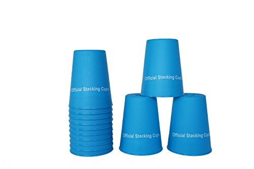 """Price comparison product image Large 3.5"""" x 4.4"""" Tall Quick Stack Cups - Speed Training Sports Stacking Cups - Set of 12 By Trademark Innovations (Blue)"""