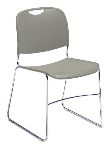 NPS 8502-CN Ultra-compact Plastic Stack Chair, 300-lb Weight Capacity, 17-1/2'' Length x 22-1/2'' Width x 31'' Height, Grey (Carton of 4) by NPS