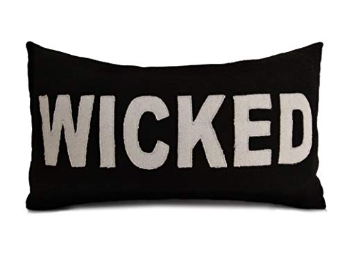 Wicked Pillow Cover, Felt Throw Pillowcase, Halloween Pillow, Halloween Decor, Lumbar Pillow, Black Ivory Pillow, October 31 Pillow, Fall pillow case, Lumbar ()