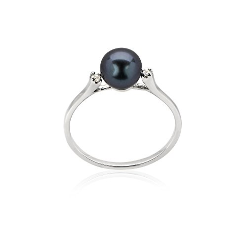 14k White Gold Cultured Freshwater Pearl Ring with .02Cts of Diamonds (14k White Gold Pearl Ring)