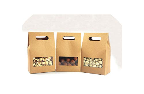 50Pcs Kraft Paper Bags/Boxes Paper Brown Stand Up Window for Wedding/Gift/Jewelry/Food/Candy Storage Packing Bags,10X15.5X61]()