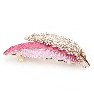 Fashion Lady Pink Leaves Vogue Crystal Jewelry Hair Clips Hairpin