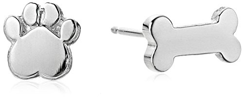 Alex Woo ''Mini Addition'' Sterling Silver Dog Bone and Paw Stud Earrings by Alex Woo