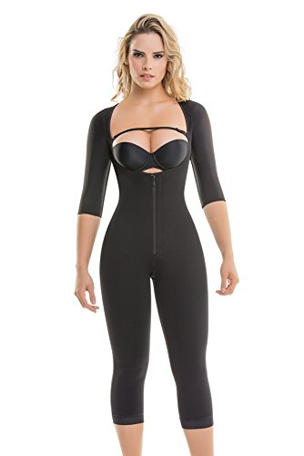 295 Women's Top-to-Bottom Arms & Legs Full Body Shaper - Firm Control Long Sleeve Shapewear - Slimming Compression Bodysuit, XL, Black