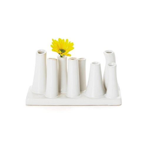 Torre & Tagus 1714-100010 Eva Multi Tube Vase Narrow Rectangle, White