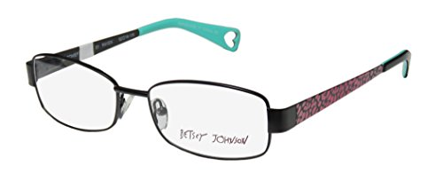 Betsey Johnson Mischief Womens/Ladies Designer Full-rim Spring Hinges Eyeglasses/Eyewear (52-16-135, Black / Pink Cheetah - Glasses Frames Print Cheetah