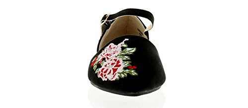 Apache Decoraci Abierto Superior Material Tobillo EN Mujer Liso Tira Bordado con Y A Microfibra Zapato 6q6rEw1