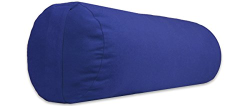 YogaAccessories Small Junior Sized Round Cotton Yoga Bolster - Blue