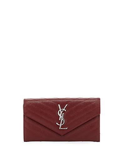 Saint Laurent Monogram YSL Medium Leather Flap Continental Wallet made in Italy (Burgundy)