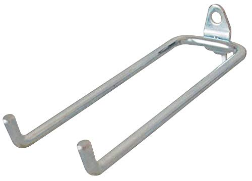 Steel Double Rod Pegboard Hook, Screw In Mounting Type, Silver, Finish: Bright Zinc pack of 5