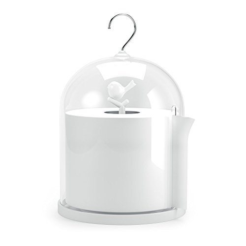 Balvi - Birdie toilet tissue paper holder and dispenser. With transparent lid. Quirky design with tree and bird. White colour. (Tree Toilet)