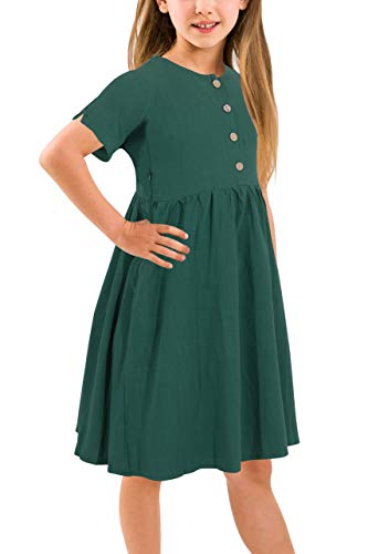 Gorlya Girl's Short Sleeve Button Up Pleated Waist Loose Casual Linen Midi Dress with Pockets for 4-12 Years Kids (GOR1007, 7-8Y, Green Color) ()