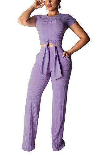 2 Pocket Crop - ThusFar Women's Short Sleeve Ribbed Tie Up Crop Top Pockets Loose Long Pants Set 2 Piece Outfits Jumpsuits Purple Large