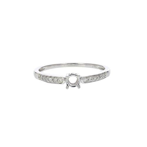 (1/10 CT Diamond Semi Mount Engagement Ring 14K White Gold In Size 7)