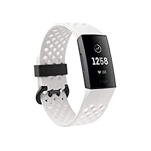 Fitbit Charge 3, Advanced Fitness Tracker, Special Edition, with Heart Rate, Swim Tracking & 7 Day Battery, Graphite/White Silicone - with extra Black Band