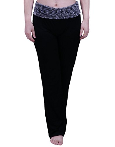 HDE Women's Maternity Yoga Pants Comfortable Lounge Pregnancy Pants Folded Waist,Black Grey Space Dye,XX-Large