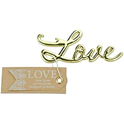 5 pcs Gold Bottle Openers Wedding Favors Decorations, Kraft Paper Label Card Tag, Love Shaped, Party Supplies