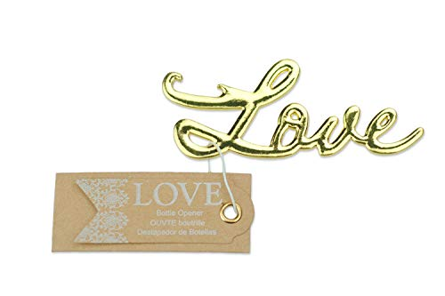 50 pcs Gold Bottle Openers Wedding Favors Decorations, Kraft Paper Label Card Tag, Love Shaped, Party Supplies