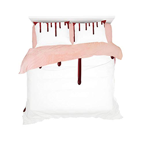 Flannel Duvet Cover Set 4-Piece Suit Warm Bedding Sets Quilt Cover for bed width 5ft Pattern Customized bedding for girls and young children,Horror,Flowing Blood Horror Spooky Halloween Zombie Crime S -