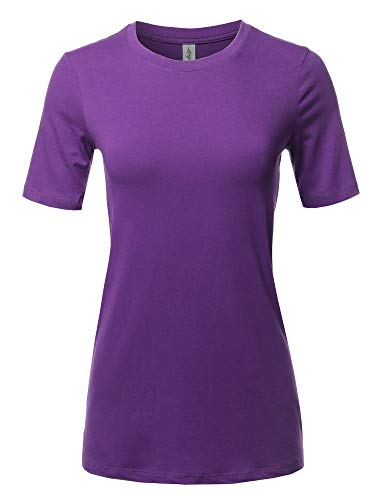 Basic Solid Premium Cotton Short Sleeve Crew Neck T Shirt Tee Tops Purple S