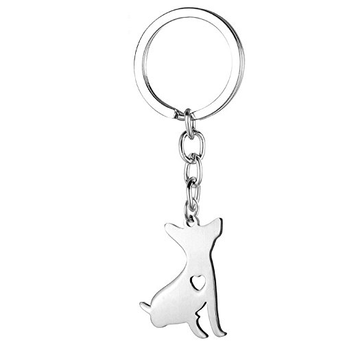 Chihuahua Key Chain with Heart: Chihuahua Themed Gifts for Women Girls, Dog (Chihuahua Dog Key)