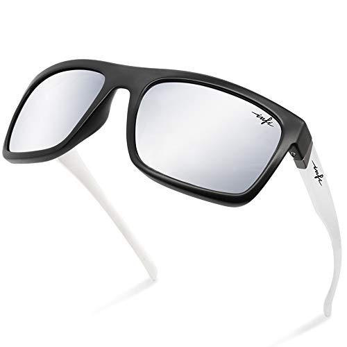 Fishing Sunglasses Mirrored Polarized for Women Men, Black and White Sunglasses Silver Mirror Glasses,HD Nylon Gray Lens Safey Impact Resistant 100% UV Protectiont, TR90 Durable