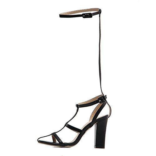 Moda Europeo black Dama Sexy Vendaje Alto Ahuecado Verano Zapatos tacón de de YMFIE Sandalias qd8xOtt