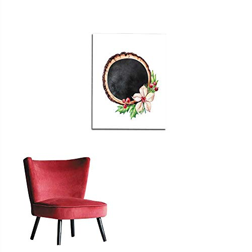 Wall Sticker Decals Watercolor Illustration Decorated Wood Slice Christmas Rustic Background Round Blank Banner Black Chalkboard Floral Decor Isolated on White Background Mural ()