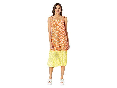 Juicy Couture Women's Ditsy Daisy Print Blocked Pleated Dress Tigerlily Ditsy/Morning Sunshine 0