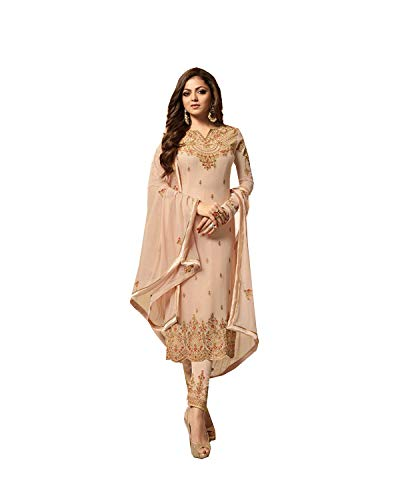 (ziya Women's Ethnic Indian Pakistani Straight Salwar Kameez 2601 (Beige, XL-44))