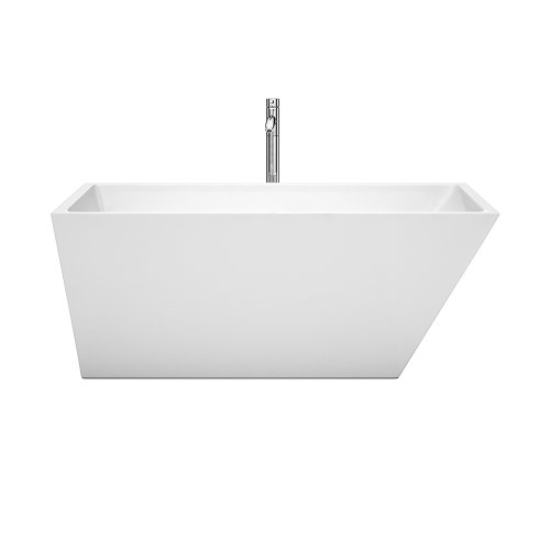 Wyndham Collection Hannah 59 inch Freestanding Bathtub for Bathroom in White with Floor Mounted Faucet, Drain and Overflow Trim in Polished Chrome