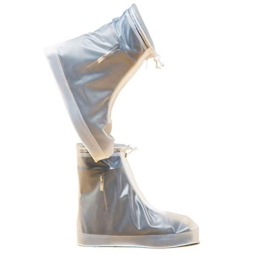 (ARUNNERS White Clear Rain Shoes Covers Boots Overshoes Galoshes for Women Girl(2XL))