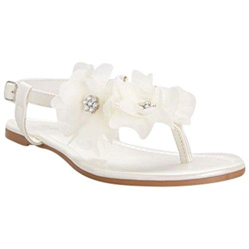 David's Bridal Slingback Thong Sandals with Chiffon Flowers Style Shayne, Ivory, 7 (Flower Sandal Thong Shoes)