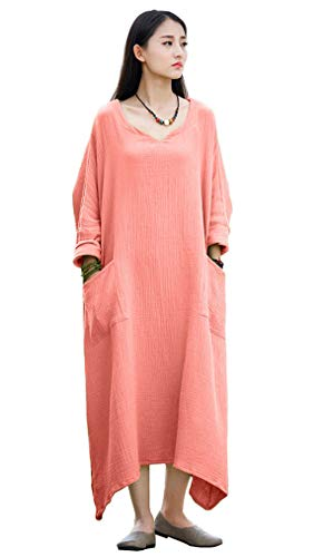 Soojun Women's Casual Cotton Linen Long Dress with Batwing Sleeve, Style 1:coral Pink, One Size