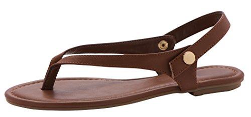 Cambridge Select Womens Thong Flip-Flop Slingback Flat Sandal Tan Pu 2E4yW