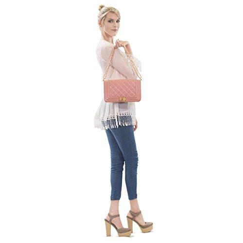 Satchel Strap Crossbody Larger Bags Bags Women's Twist 2457 Quilted Pink Chain Lock Handbags w Dasein Size Designer Shoulder qOpzt