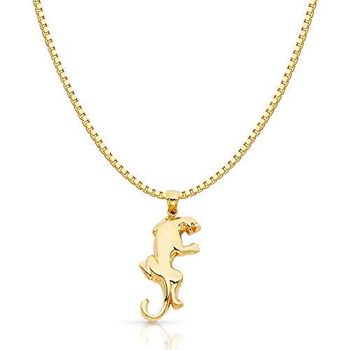 (14K Yellow Gold Puma Charm Pendant with 1.2mm Box Chain Necklace - 16