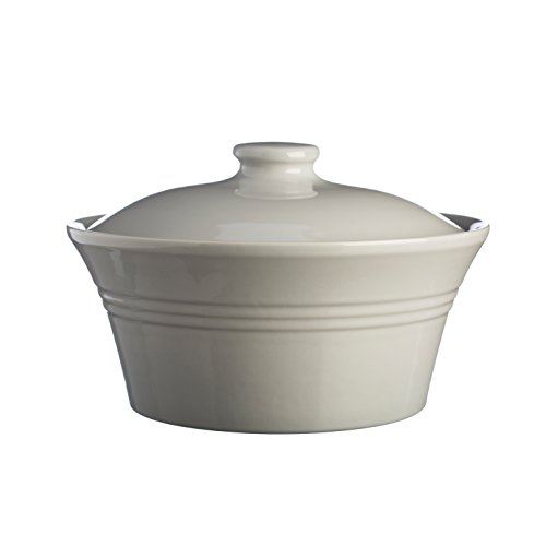Mason Cash Classic Kitchen Casserole Dish with Lid, Durable Stoneware Goes from Oven to Table, 85-Fluid Ounces, Dishwasher, Microwave and Freezer Safe, Grey